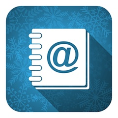 address book flat icon, christmas button